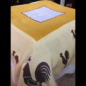 Vintage 1960's 70's Linen Tablecloth Roosters Gold